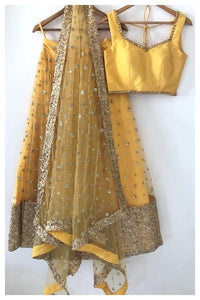 Prepossessing Smart Yellow Art Raw Silk Heavy Hand Work With Modest Lehenga Choli