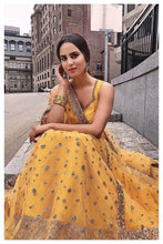 Load image into Gallery viewer, Prepossessing Smart Yellow Art Raw Silk Heavy Hand Work With Modest Lehenga Choli