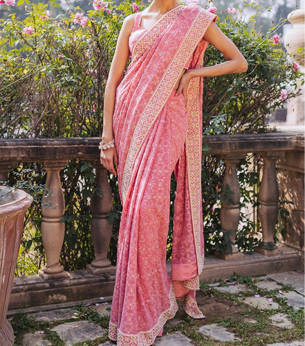 Contempoary Flexhale Baby Pink Georgette Chikankari Work With Paradise Look Saree