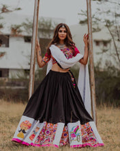 Load image into Gallery viewer, Latest Festive Collection Black Butter Silk Digital Print & Real Mirror Work Solid Lahenga Choli