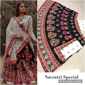Navaratri Collection Black & White Satin Banglori Silk Heavy Embroidered Work With Lahenga Choli
