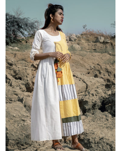 Fantabulous Lavish Cool Yellow Pure Linen Khadi Peplum Lining Work With Morden Maxi Dress