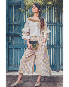 Yellow Lining Khadi Calf Length Pant With Pagoda Sleeve Top Set