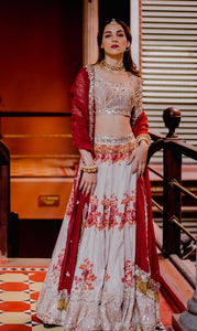 Resplendent Ivory & Maroon Bridal Silk Zardosi And Heavy Zari Hand Work With Floral Lehenga Choli