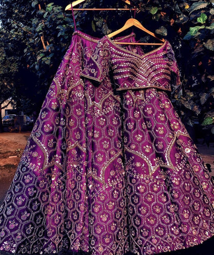 Devastating Royal Purple Pure Raw Silk Heavy Zardosi Hand Work With Blossom Lehenga Choli