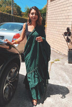 Load image into Gallery viewer, Nonpareil Splendid Green Georgette Ruffle Plain Work With Artistic Saree