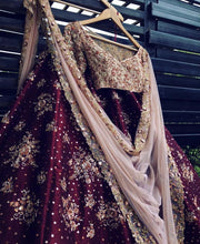 Load image into Gallery viewer, Ostentatious Deep Maroon & Pale Pink Bridal Silk Zardosi And Zari Hand Work With Bizarre Lehenga Choli
