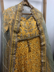 Favorable Honey Yellow Pure Raw Silk Heavy Embroidery Work With Angelic Lehenga Choli