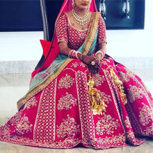 Load image into Gallery viewer, Trendsetting Pink & Mint Pure Raw Silk Heavy Zardosi Embroidery Work With Pretty Lehenga Choli