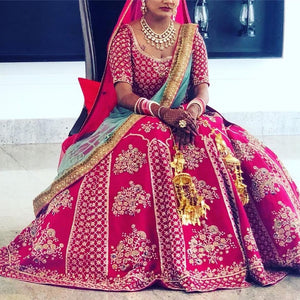 Trendsetting Pink & Mint Pure Raw Silk Heavy Zardosi Embroidery Work With Pretty Lehenga Choli