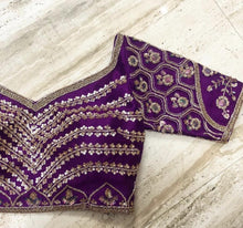 Load image into Gallery viewer, Devastating Royal Purple Pure Raw Silk Heavy Zardosi Hand Work With Blossom Lehenga Choli