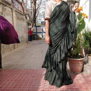 Nonpareil Splendid Green Georgette Ruffle Plain Work With Artistic Saree