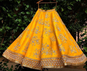 Sweet Heart Mustard Yellow Raw Silk Zardosi & Zari Hand Work With Honest Lehenga Choli