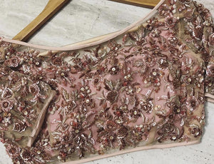 Ostentatious Deep Maroon & Pale Pink Bridal Silk Zardosi And Zari Hand Work With Bizarre Lehenga Choli