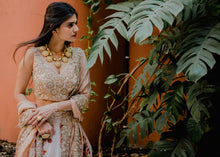 Load image into Gallery viewer, Sophisticated Pastel Pink Bridal Silk Zardosi And Heavy Zari Hand Work With Engaging Lehenga Choli