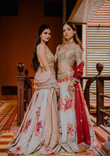 Load image into Gallery viewer, Resplendent Ivory & Maroon Bridal Silk Zardosi And Heavy Zari Hand Work With Floral Lehenga Choli