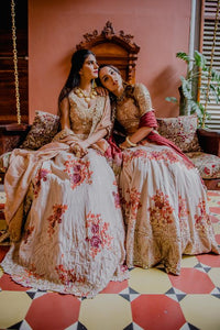 Sophisticated Pastel Pink Bridal Silk Zardosi And Heavy Zari Hand Work With Engaging Lehenga Choli