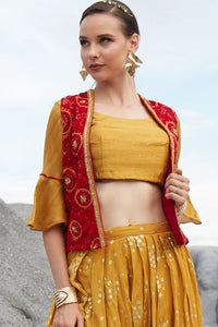 Prepossessing Cool Mustard Yellow Embroidered Work With Lovely Western Type Stylist Dhoti Suit