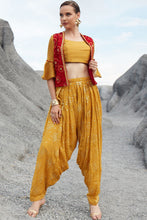 Load image into Gallery viewer, Prepossessing Cool Mustard Yellow Embroidered Work With Lovely Western Type Stylist Dhoti Suit