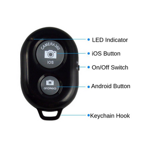 Black bluetooth remote with labels showing use including led indicator, iOS button, Android button, on and of switch and key chain hook