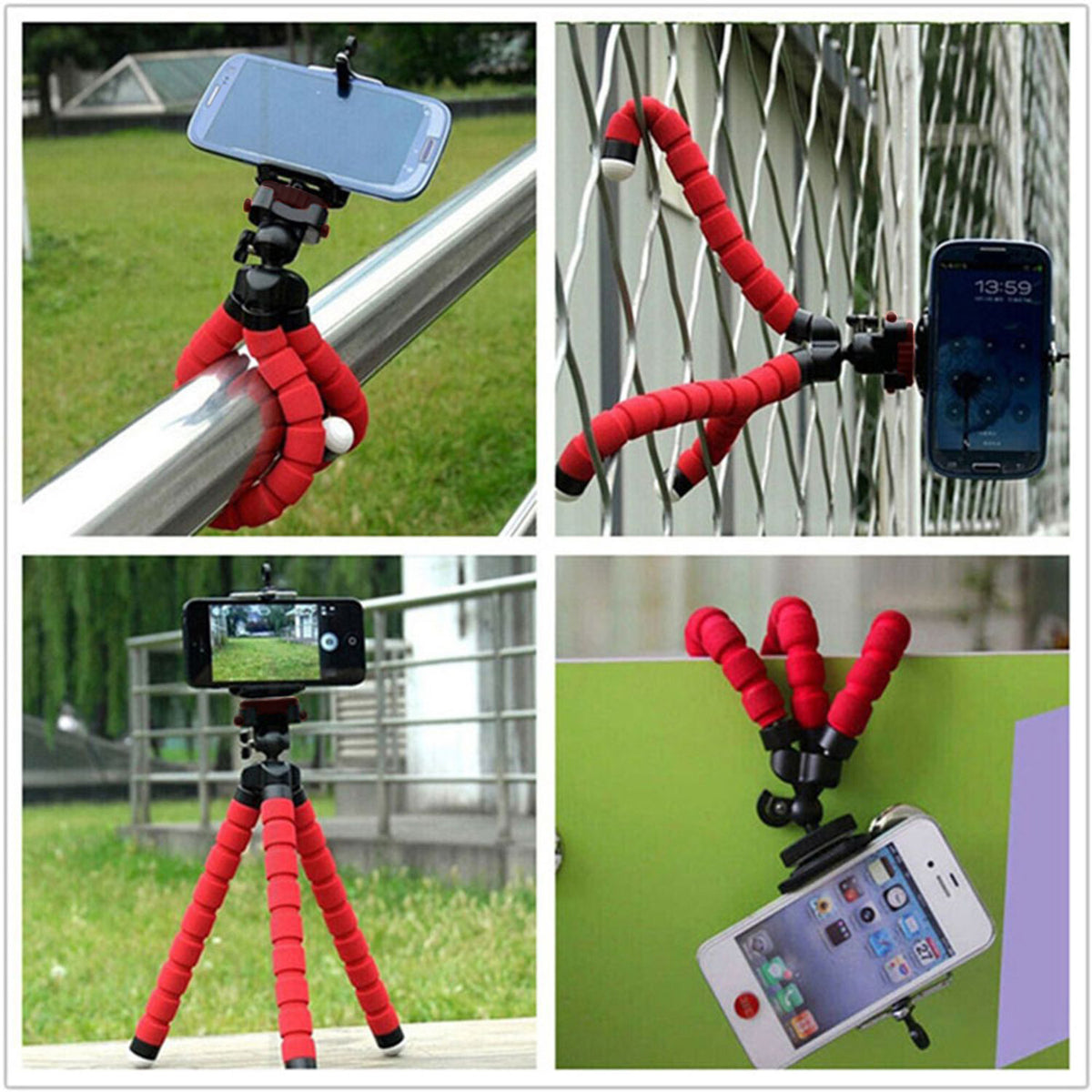 Flexible red tripod shown hanging, wrapped around pole, standing on floor