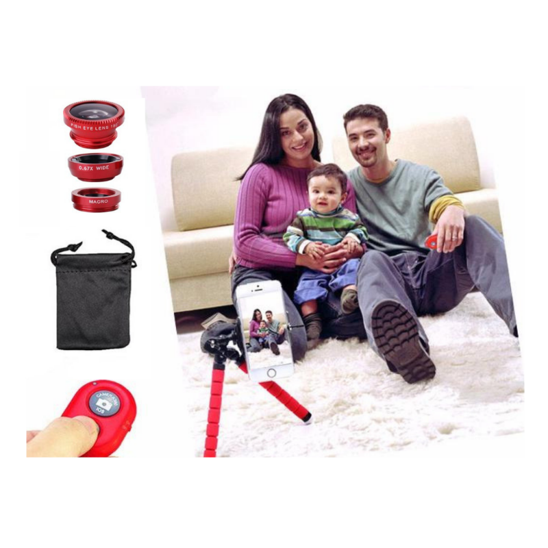 Red Flexible tripod with phone attached. Bluetooth remote shown caputuring image of family taken by man. Includes picture of 3 lenses, pouch and remote