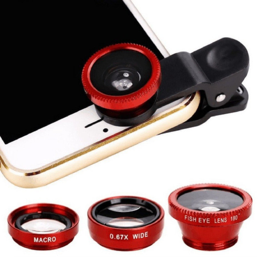 Three red lenses with lens clip attached to demonstration phone