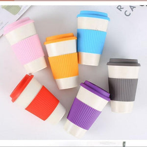 Game Changing Idea Bamboo Fibre Travel Mug with Silicone Lid & Sleeve