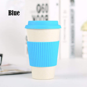 Game Changing Idea Blue / 400ml Bamboo Fibre Travel Mug with Silicone Lid & Sleeve