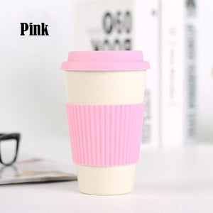 Game Changing Idea Pink / 400ml Bamboo Fibre Travel Mug with Silicone Lid & Sleeve