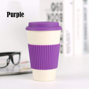 Game Changing Idea Purple / 400ml Bamboo Fibre Travel Mug with Silicone Lid & Sleeve