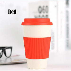 Game Changing Idea Red / 400ml Bamboo Fibre Travel Mug with Silicone Lid & Sleeve