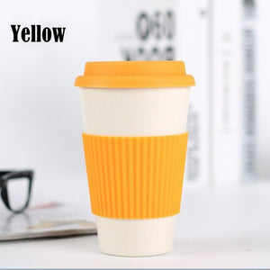 Game Changing Idea Yellow / 400ml Bamboo Fibre Travel Mug with Silicone Lid & Sleeve
