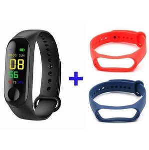 Game Changing Idea Black + Red Blue Fitness Tracker Watch