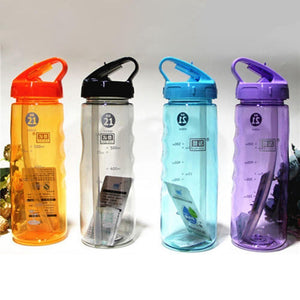 Game Changing Idea Frosted Sports Water Bottle with Time Markings & Flip Straw