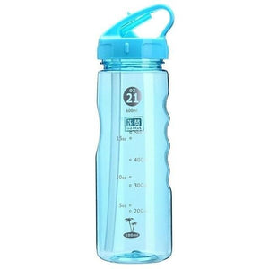 Game Changing Idea 700ml / Blue Frosted Sports Water Bottle with Time Markings & Flip Straw
