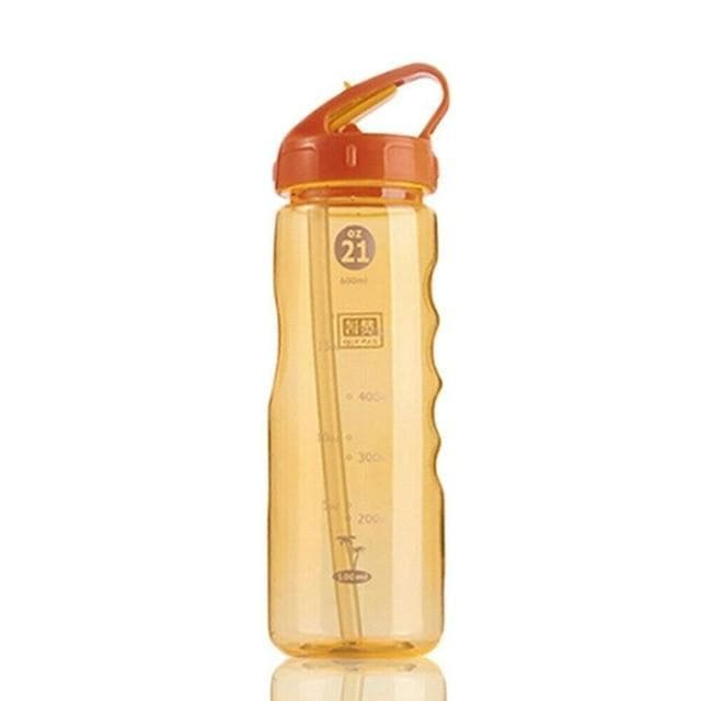 Game Changing Idea 700ml / Orange Frosted Sports Water Bottle with Time Markings & Flip Straw