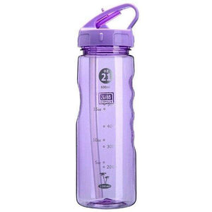 Game Changing Idea 700ml / Purple Frosted Sports Water Bottle with Time Markings & Flip Straw