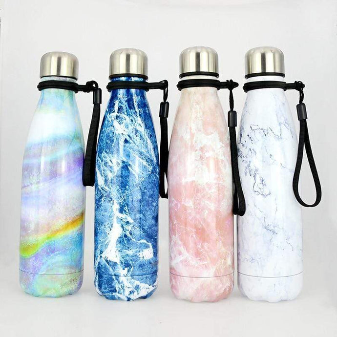 Game Changing Idea Marble Pattern Stainless Steel Water Bottle