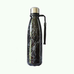 Game Changing Idea Worldwide / 401-500ml / Black Marble Marble Pattern Stainless Steel Water Bottle