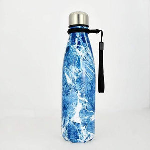 Game Changing Idea Worldwide / 401-500ml / Deep Blue Marble Marble Pattern Stainless Steel Water Bottle
