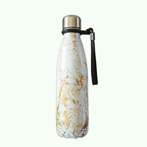 Game Changing Idea Worldwide / 401-500ml / White & Gold Marble Marble Pattern Stainless Steel Water Bottle