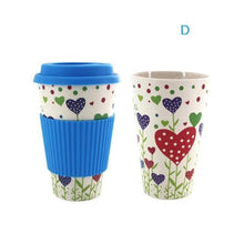 Load image into Gallery viewer, Game Changing Idea Worldwide / Blue Hearts / 480ml Printed Bamboo Fibre Travel Mug with Silicone Lid and Sleeve