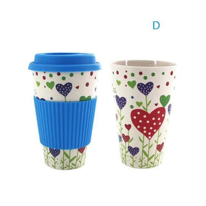 Game Changing Idea Worldwide / Blue Hearts / 480ml Printed Bamboo Fibre Travel Mug with Silicone Lid and Sleeve
