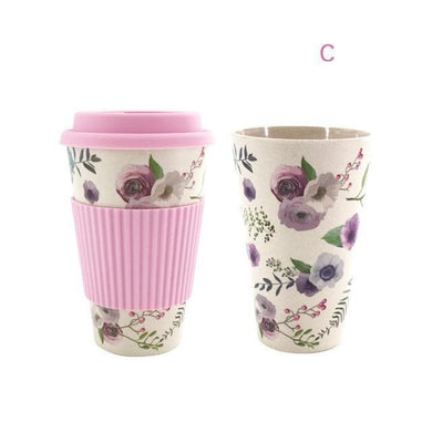 Game Changing Idea Worldwide / Pink Floral / 480ml Printed Bamboo Fibre Travel Mug with Silicone Lid and Sleeve