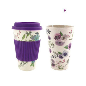 Game Changing Idea Worldwide / Purple Floral / 480ml Printed Bamboo Fibre Travel Mug with Silicone Lid and Sleeve