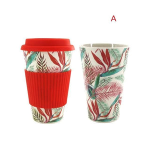 Game Changing Idea Worldwide / Red Leaf / 480ml Printed Bamboo Fibre Travel Mug with Silicone Lid and Sleeve