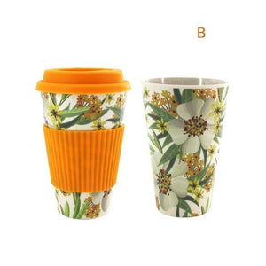 Game Changing Idea Worldwide / Yellow Floral / 480ml Printed Bamboo Fibre Travel Mug with Silicone Lid and Sleeve