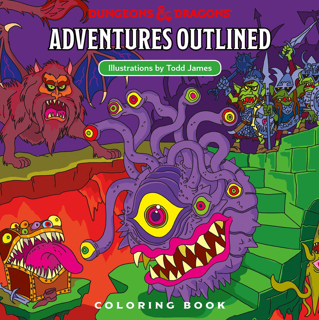 Dungeons & Dragons (D&D) -  Adventures Outlined Coloring Book
