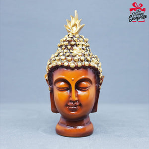 Buddha Head Figurine Golden Black 13 cm